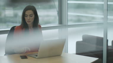 Female executive working on laptop and using smartphone