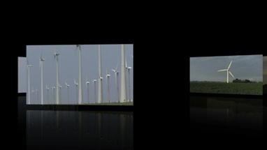 CGI Computer animation, of wind turbines