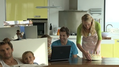 CGI Computer animation, of family scenes