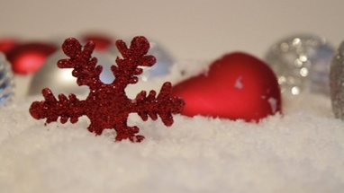 Close up PAN of christmas decoration