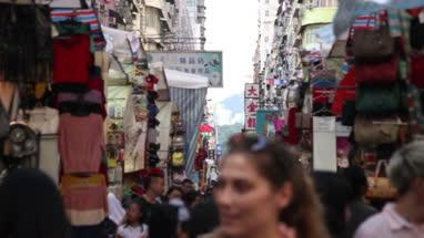 People walking in Fa Yuen Street Market at Hong Kong, China
