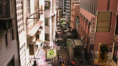 View of street and subway entrance in Hong Kong, China