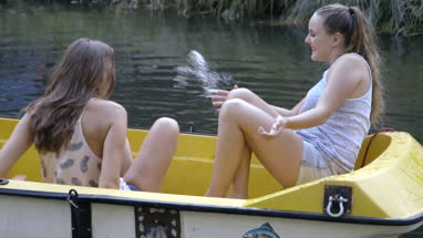 Friends in a small boat on river