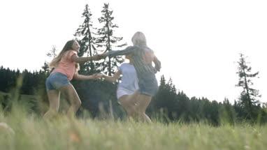Friends enjoying countryside