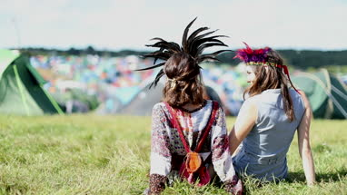 Young Adult Friends camping at festival