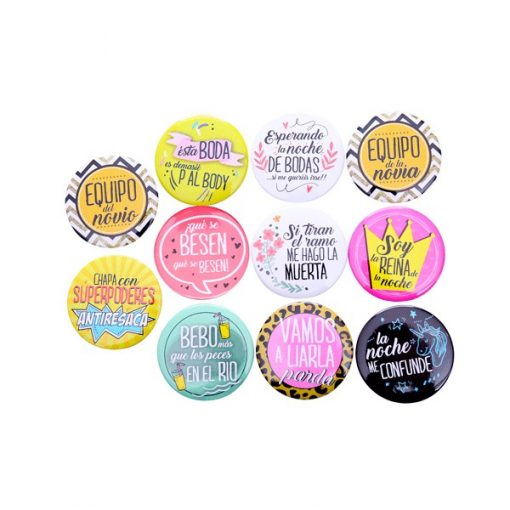 LOTE 10 CHAPAS FRASES WEDDING