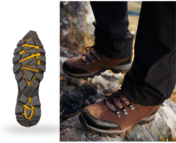 Central grip zone of deep multi-directional cleats offers superior traction  control and stabilising belt of open lugs around the perimeter of the  outsole ... 715309dfbc7