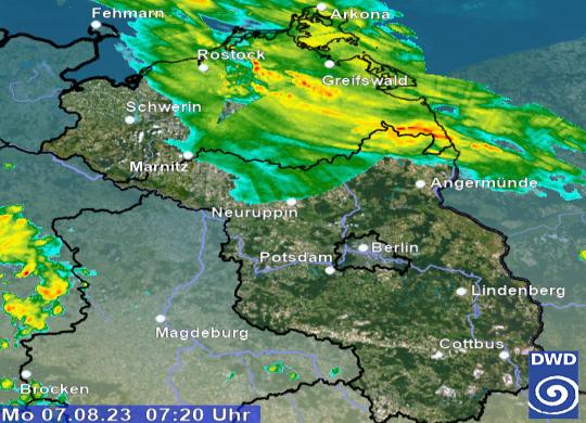 Das aktuelle Regenradar für Berlin (Bild)