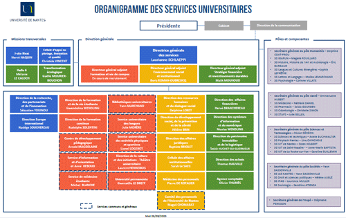 Organigramme des services universitaires