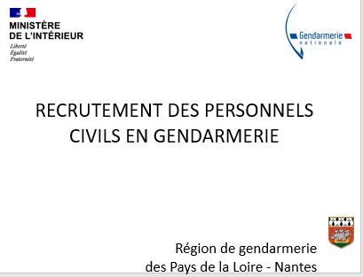 Recrutement des personnels civils en gendarmerie