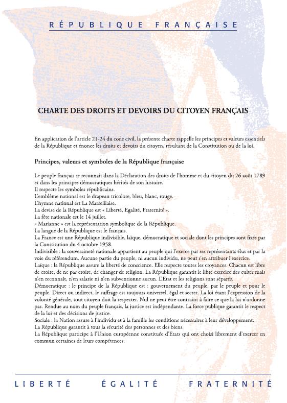 Charte des droits et devoirs du citoyen français