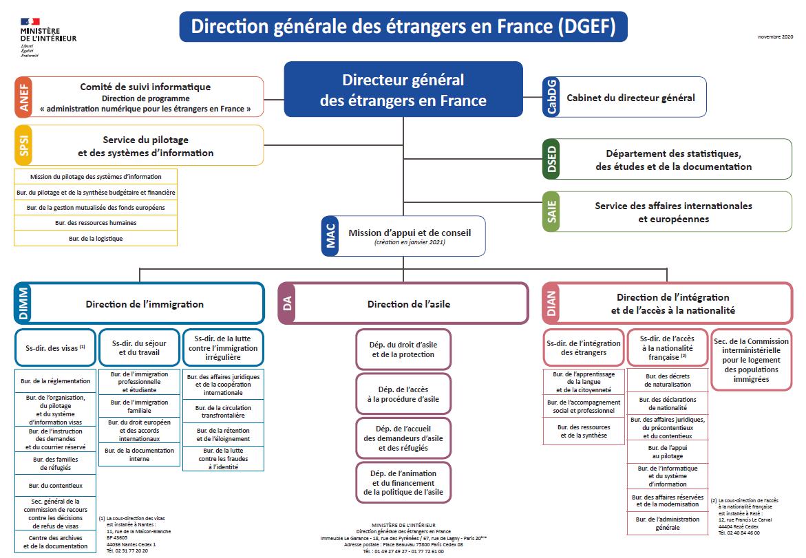 Organigramme de la Direction générale des étrangers en France (DGEF)