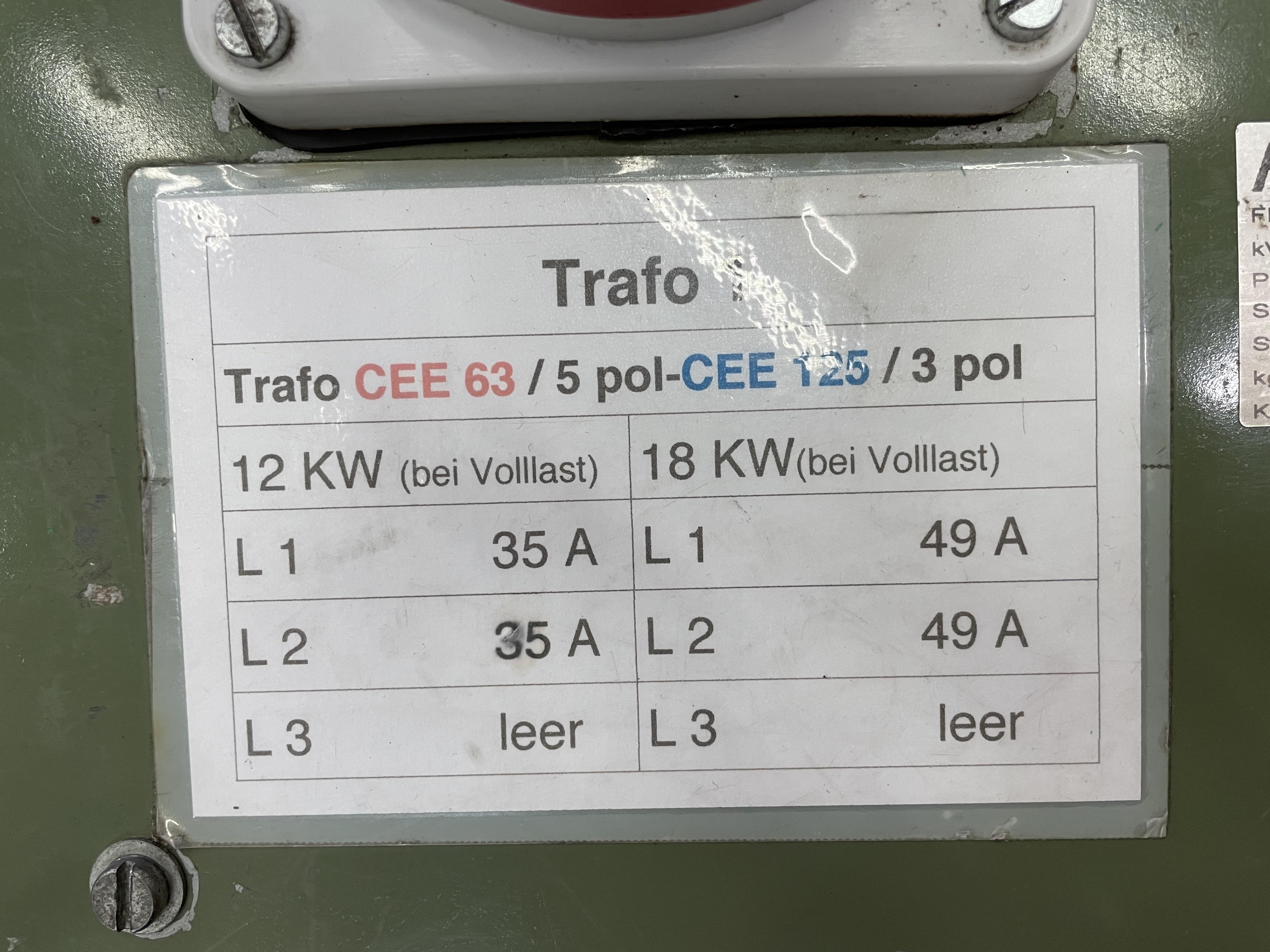 Trafo CEE63/5p-CEE125/3p 0