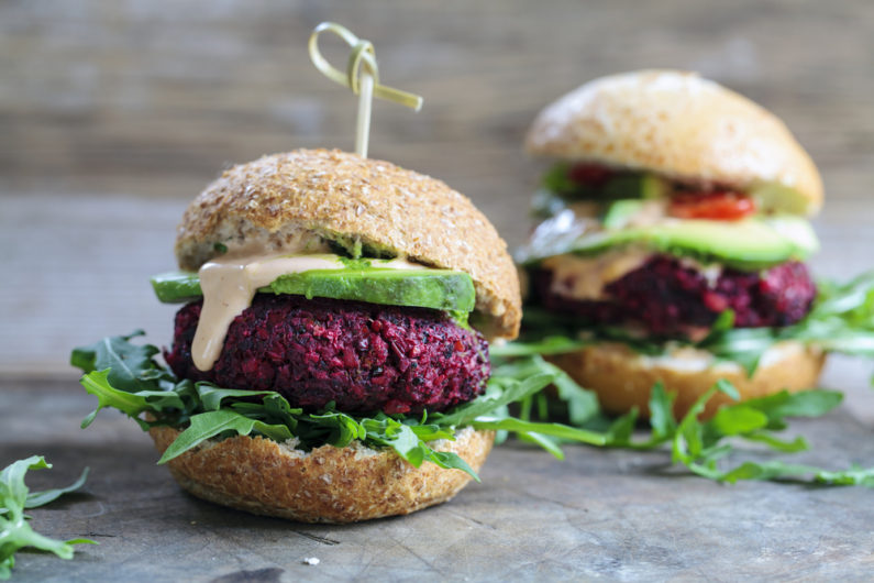 Beetroot burgers are a great vegan addition.