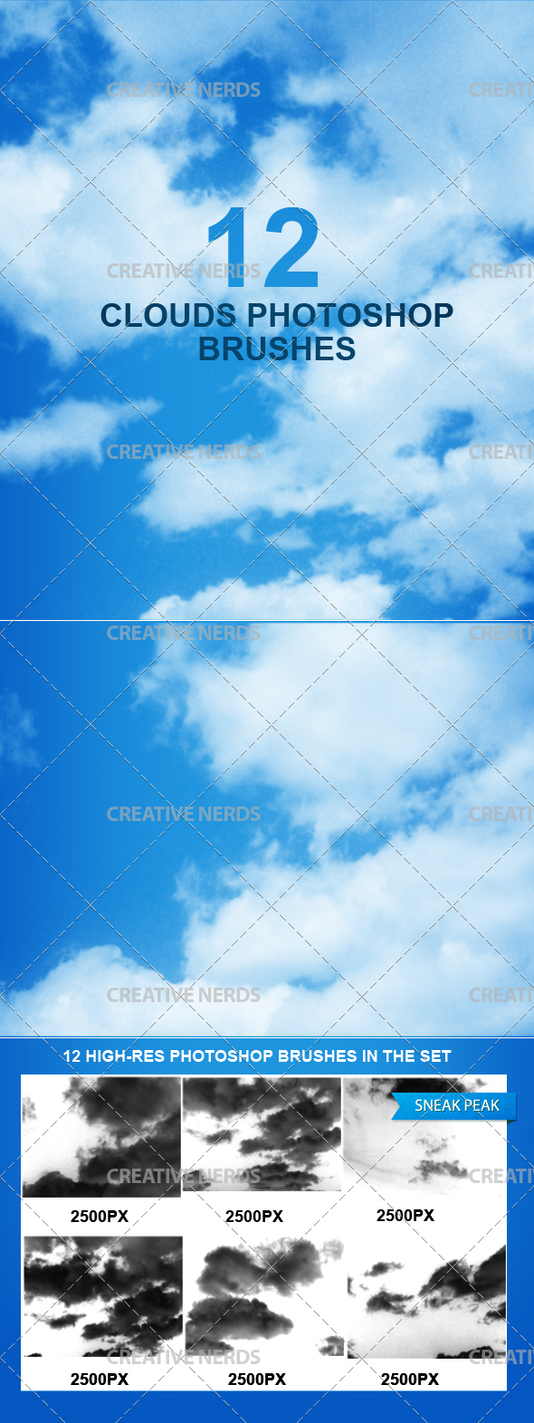 clound brushes preview 12 high Resolution Cloud Photoshop Brushes
