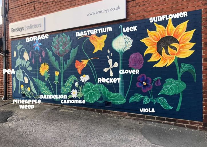 Final mural design with labels.