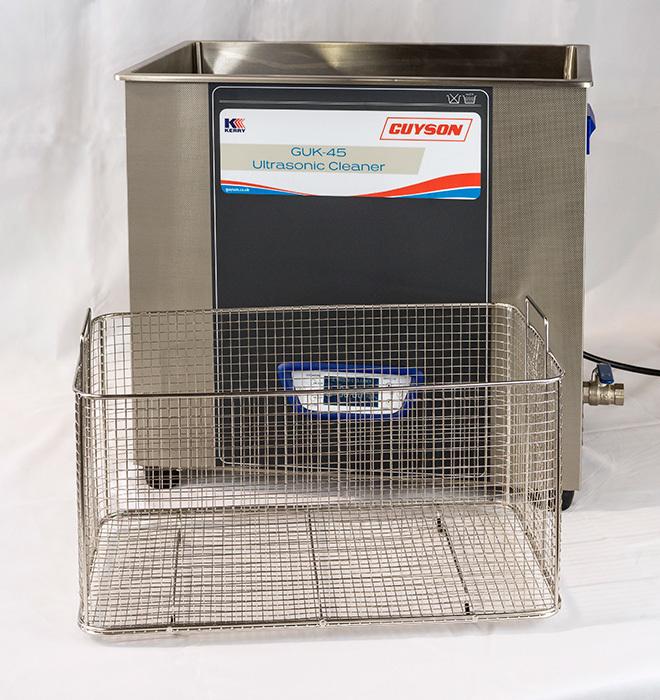 Guyson's GUK-45 Ultrasonic bath with basket