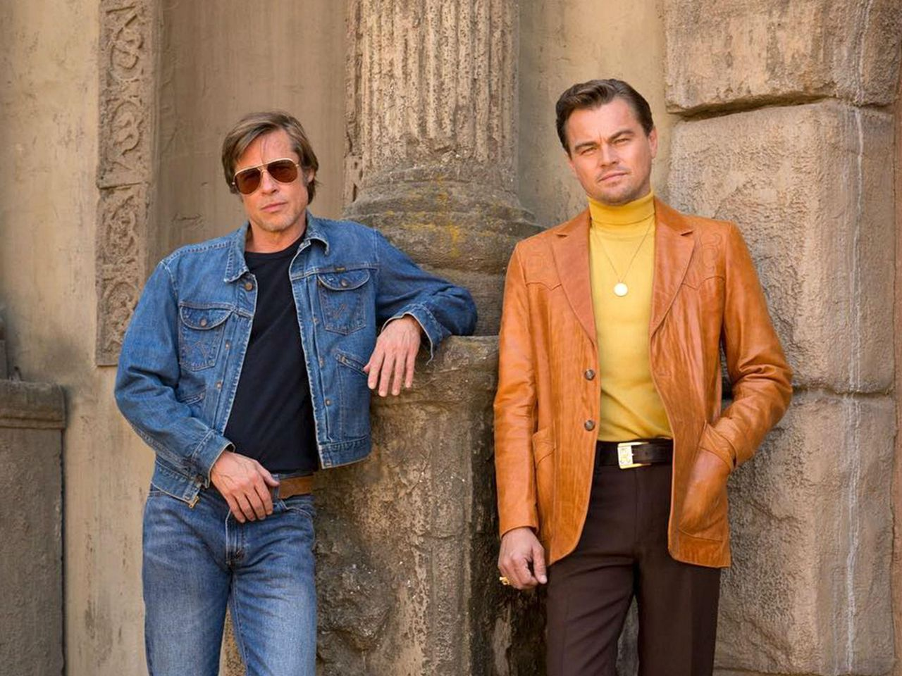 Rick Dalton (Leonardo Di Caprio) and his friend Cliff Booth (Brad Pitt)