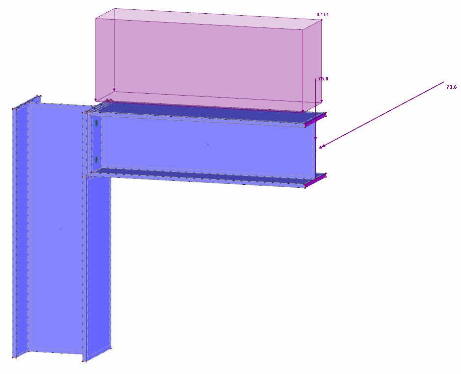 Detail staal verbinding in RFEM rekensoftware met solids