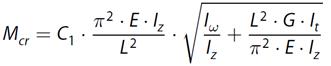 Kritisch kip-moment van ongesteunde ligger in RF-STEEL EC3