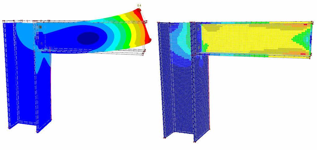 Vervorming onder invloed van dwarskracht op staalverbinding in RFEM rekensoftware