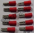 RED FEMALE SPADE CONNECTOR 3.2MM (10)