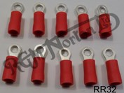 RED RING TERMINAL, 3.2MM HOLE DIAMETER (10)