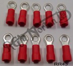 RED RING TERMINAL, 4.3MM HOLE DIAMETER (10)