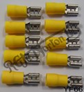 YELLOW FEMALE SPADE CONNECTORS, 6.6MM (10)
