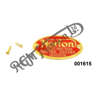 RED NORTON BRASS PATENT BADGE WITH RIVETS