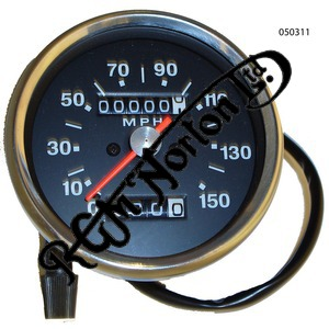 UNIVERSAL BLACK FACE SPEEDOMETER, MPH, 4-1 RATIO