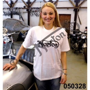 NORTON T-SHIRT, WHITE WITH BLACK PRINT, SIZE MEDIUM