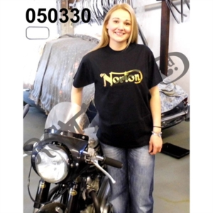 NORTON T-SHIRT, BLACK WITH GOLD PRINT, SIZE XL