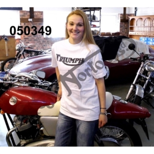 TRIUMPH T-SHIRT, WHITE WITH BLACK PRINT, SIZE SMALL