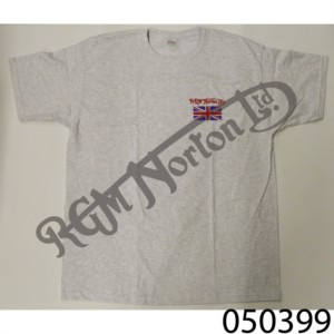 RGM CREW NECK T-SHIRT, HEATHER GREY, FEATURING RGM NORTON AND UNION JACK, SIZE L