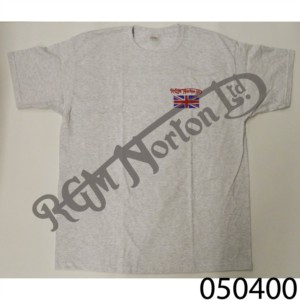 RGM CREW NECK T-SHIRT, HEATHER GREY, FEATURING RGM NORTON AND UNION JACK, SIZE M