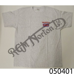 RGM CREW NECK T-SHIRT, HEATHER GREY, FEATURING RGM NORTON AND UNION JACK, SIZE S