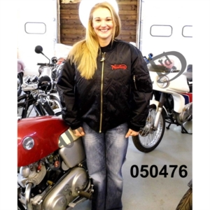 FLYING JACKET, BLACK SATIN, NYLON LINED WITH RED EMBROIDERED NORTON LOGO, SIZE X