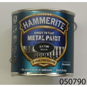 HAMMERITE SMOOTH SATIN  BLACK DIRECT TO RUST METAL PAINT 250ML