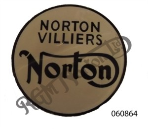 "FASTBACK TAIL, ROUND PLASTIC BADGE ""NORTON VILLIERS NORTON"" BLACK & SILVER"