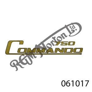 """""""750 COMMANDO"""" DECAL GOLD WITH BLACK BORDER"""