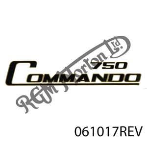 """750 COMMANDO"" DECAL BLACK WITH GOLD BORDER TRANSFER"
