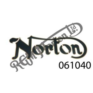 """NORTON"" BLACK/GOLD BORDER TANK DECAL (EACH)"