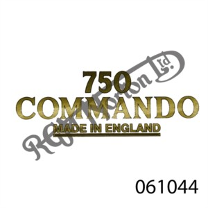"750 COMMANDO ""MADE IN ENGLAND"" TRANSFER, GOLD"