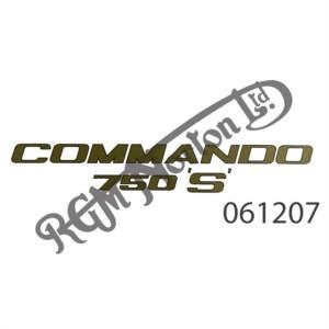 """GOLD WITH BLACK BORDER """"COMMANDO 750 """"'S'"""" TRANSFER"""