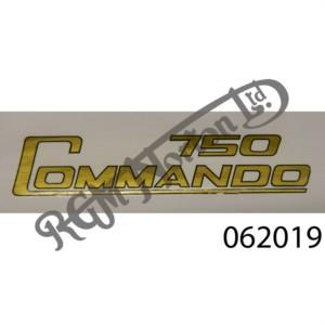 750 COMMANDO SIDE PANEL TRANSFER, GOLD/BLACK OUTLINE
