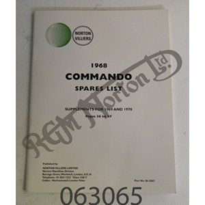 1969/1970 EARLY COMMANDO SPARES LIST SUPPLEMENT