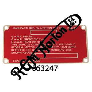 FRAME NAME PLATE ON HEADSTOCK FOR LATE 750 EARLY 850, RED