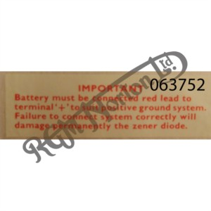 """BATTERY RED LEAD TO """"+"""" DECAL"""