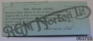 OIL TANK LEVEL DECAL